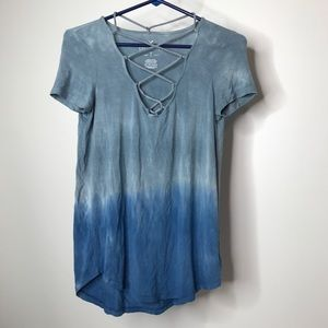 AEO Soft & Sexy T Top Size XS Ombré Cross Strap